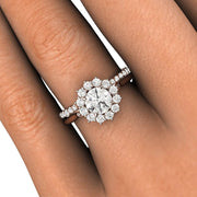 Diamond Halo Cluster Wedding Set on Finger Round Cut Rare Earth Jewelry