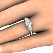 Rare Earth Jewelry 6mm Forever One Moissanite Ring on Finger Cushion Cut 14K or 18K Gold 3 Stone Setting