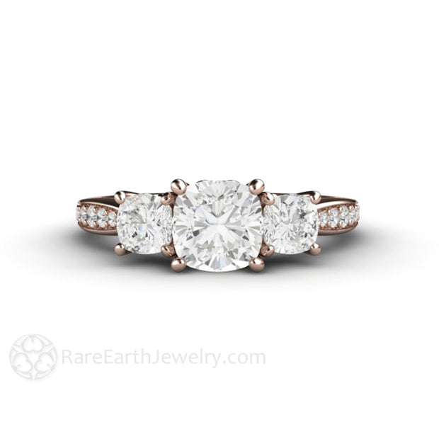 Rare Earth Jewelry Rose Gold Engagement Ring Cushion 3 Stone Moissanite Engagement Ring 14K Rose Diamond Accented Band