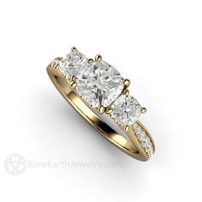 Rare Earth Jewelry 6mm Cushion Moissanite Engagement Ring 4mm Side Stones with Diamond Accents 14K Gold