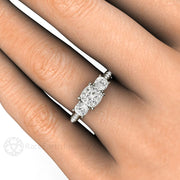 Rare Earth Jewelry Cushion 3 Stone Moissanite Right Hand Ring on Finger 14K White Gold Setting