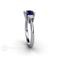 3 Stone Blue Sapphire with Moissanite Ring Anniversary or Bridal Rare Earth Jewelry