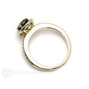 Round Cut Tourmaline Diamond Halo Ring 14K or 18K Gold Rare Earth Jewelry