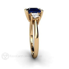 Rare Earth Jewelry 14K Yellow Gold Princess Cut Diamond and Blue Sapphire Ring