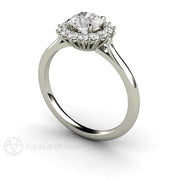 6mm Round Cut GIA Certified Diamond Engagement Ring Platinum Halo Setting Rare Earth Jewelry