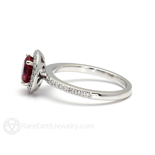 Round Cut Red Ruby Ring with Diamonds Rare Earth Jewelry