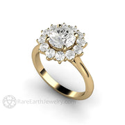 Rare Earth Jewelry 14K Yellow Gold Moissanite Engagement Ring Vintage Style Round Cluster Halo 7mm Colorless