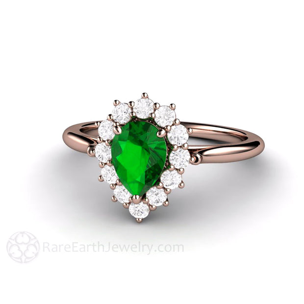 Pear Cut Green Tsavorite Garnet Halo Ring 14K Rose Gold Rare Earth Jewelry