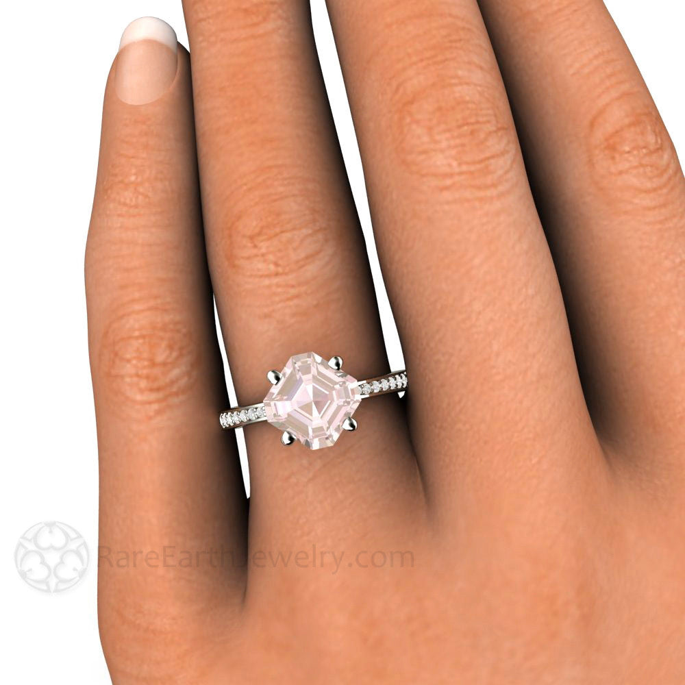 2ct Asscher Morganite Engagement Ring With Diamond Band