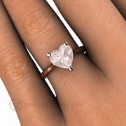 8mm Morganite Heart Ring on the Hand Unique Engagement Ring or Promise Ring Custom made by Rare Earth Jewelry