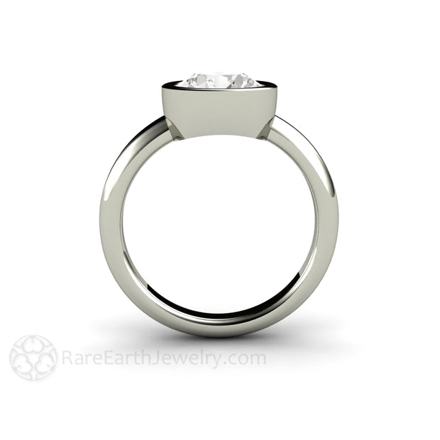 8mm Round Bezel Set Solitaire Engagement Ring Minimalist Design custom made by Rare Earth Jewelry
