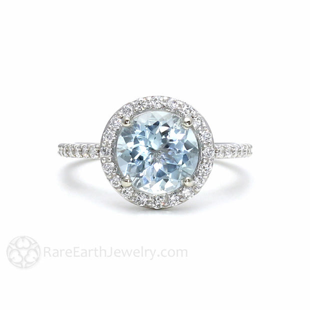 Round Aquamarine Engagement Ring with Diamond Halo March Birthstone