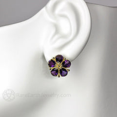 Rare Earth Jewelry Natural Gemstone Flower Earrings on Ear Pear Cut Amethyst 14K Gold