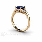 Blue Sapphire Five Stone Ring 14K or 18K Gold Rare Earth Jewelry