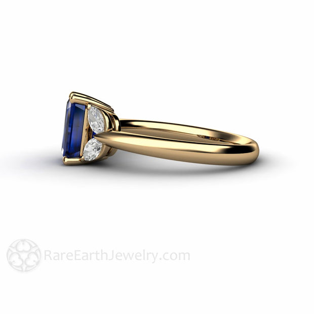 14K Gold Diamond and Blue Emerald Ring Rare Earth Jewelry