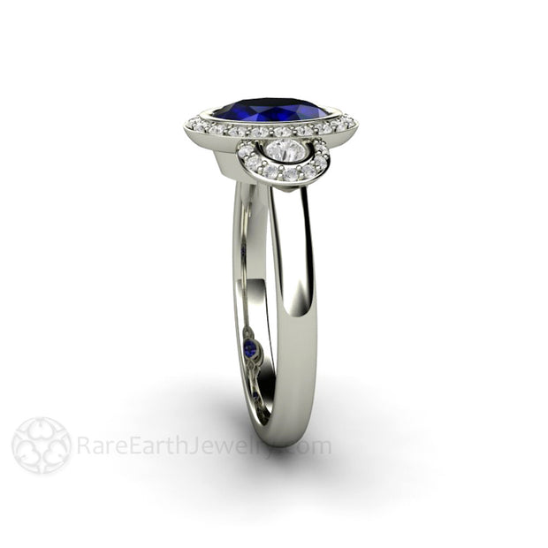 Rare Earth Jewelry 8x6 Oval Cut Blue Sapphire Halo Engagement Ring