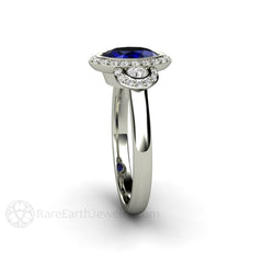 8x6 Oval Cut Blue Sapphire Halo Engagement Ring Rare Earth Jewelry