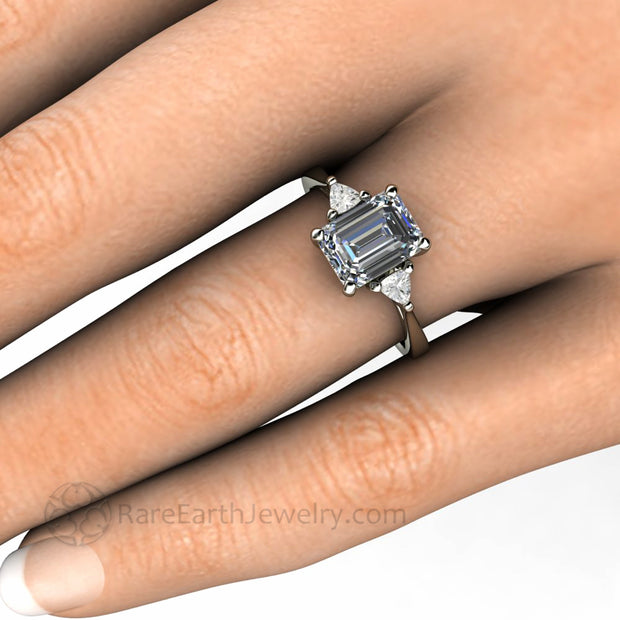 8x6mm Emerald Cut Grey Moissanite on the Finger Engagement Ring Wedding