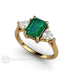 Rare Earth Jewelry Green Emerald Wedding Ring Trillion Sapphire Side Stones 18K Gold Setting