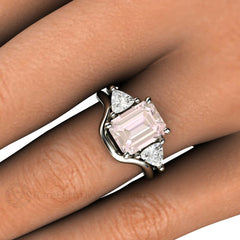 3 Stone Morganite Engagement with Trillion White Saphires