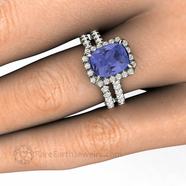 9x7mm Cushion Cut Tanzanite Hand Shot Bridal Set