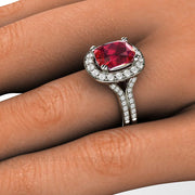 Cushion Ruby Split Shank Halo Ring on Finger Rare Earth Jewelry
