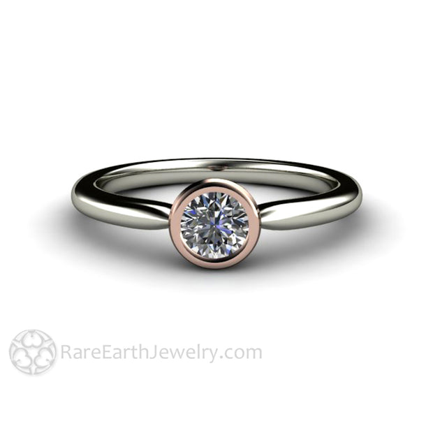 Affordable Diamond Promise Ring Bezel Set with White and Rose Gold Rare Earth Jewelry