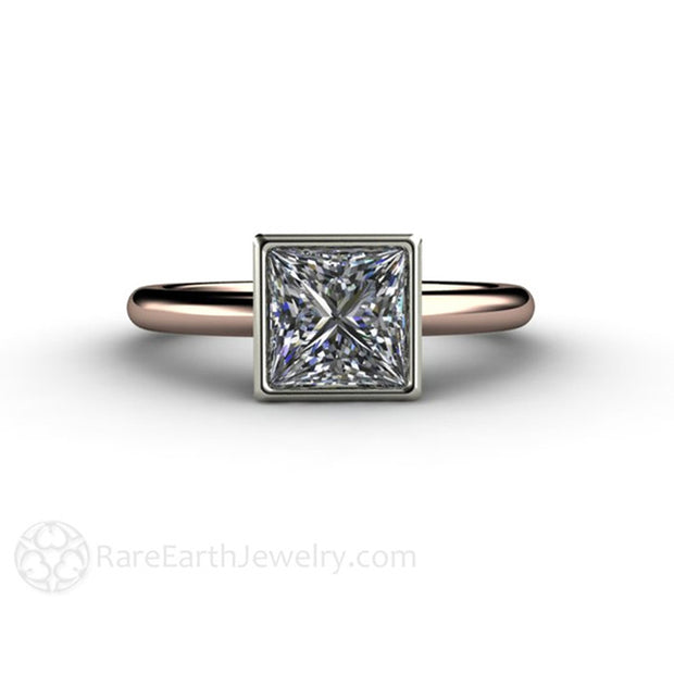 Affordable engagement ring custom made moissanite ring classic square bezel in rose gold by Rare Earth Jewelry