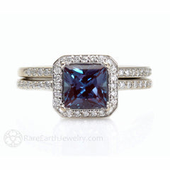 Alexandrite Wedding Set Diamond Halo and Wedding Band 14K Rare Earth Jewelry