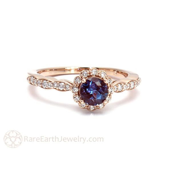 Alexandrite Engagement Ring With Diamond Halo Rare Earth