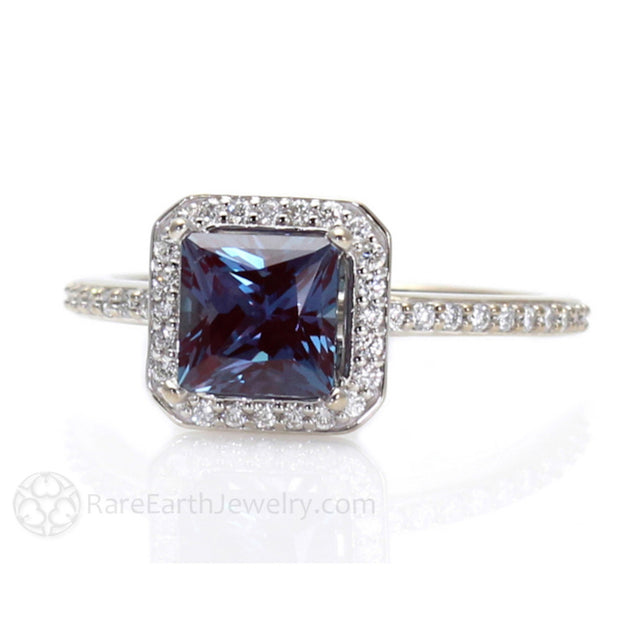 Rare Earth Jewelry Alexandrite Diamond Halo Engagement Ring Princess Cut June Birthstone