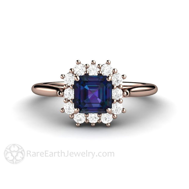 June Birthstone Ring Alexandrite with Cluster Diamond Halo 14K Rose Gold rare Earth Jewelry
