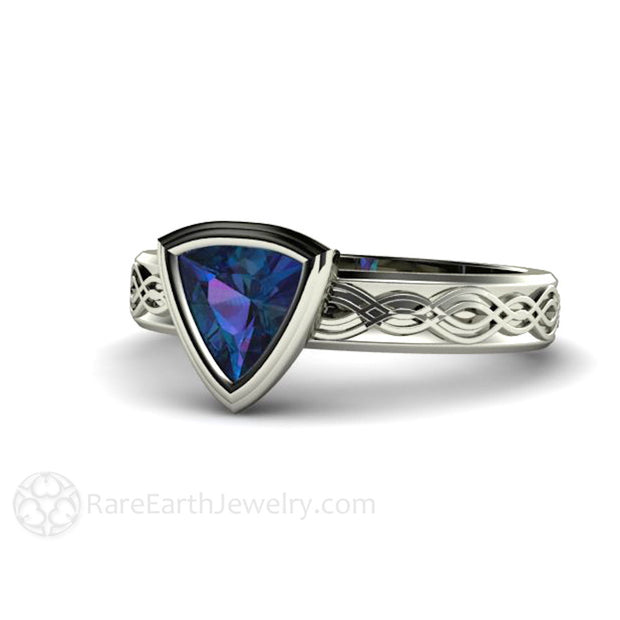 Trillion Bezel Solitaire Alexandrite Ring June Birthstone Rare Earth Jewelry