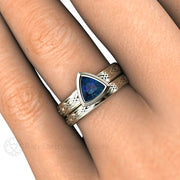 Alexandrite Bridal Band and Engagement Ring Wedding Set