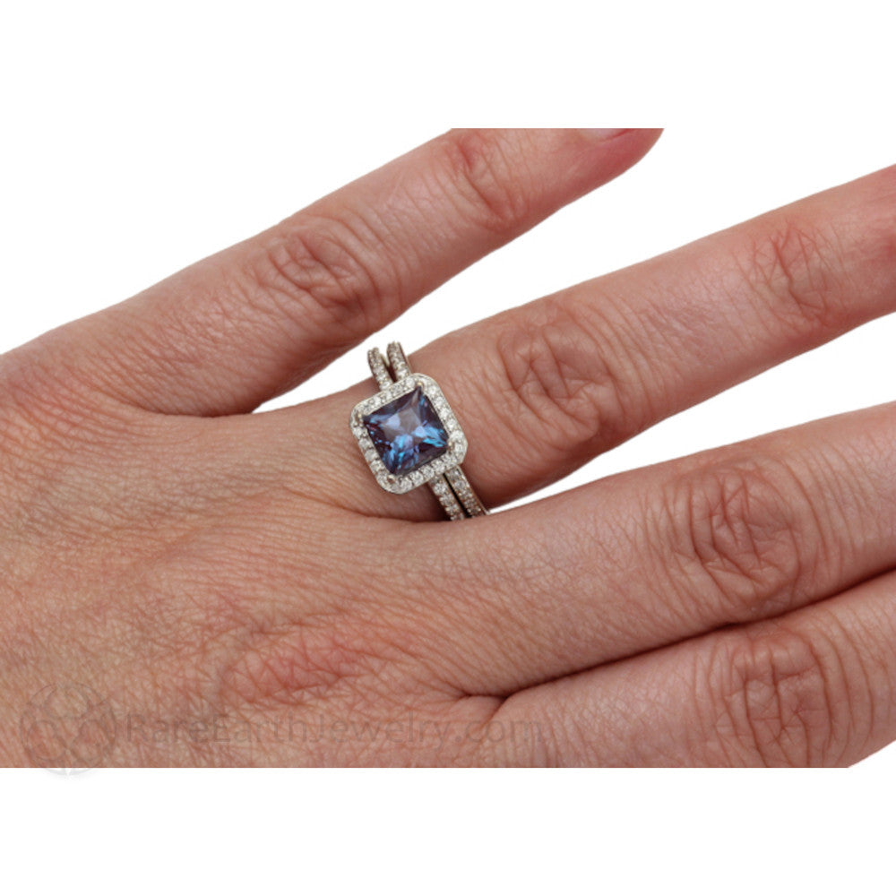rare earth jewelry princess cut alexandrite wedding ring set on finger - Alexandrite Wedding Ring