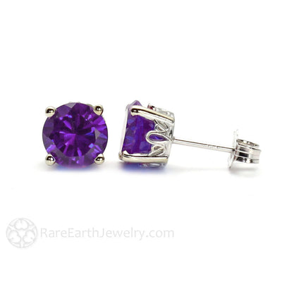Amethyst Earrings Round 14K Gold Studs in Floral Post Settings