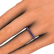 Round Amethyst Anniversary Band or Stacking Ring February Birthstone