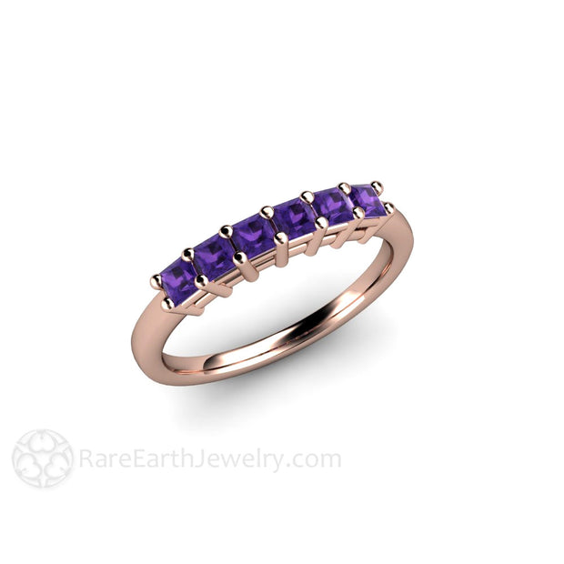 February Birthstone Ring Purple Amethyst Rare Earth Jewelry
