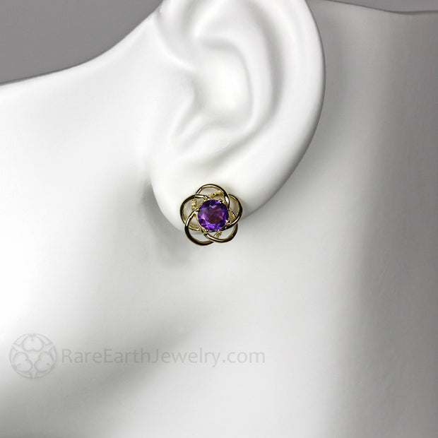 Rare Earth Jewelry Flower Shaped Amethyst Stud Post Earrings 14K Gold Setting