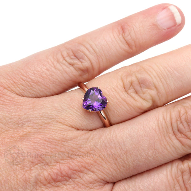 Rare Earth Jewelry 14K Gold Heart Shaped Purple Amethyst Ring on Finger