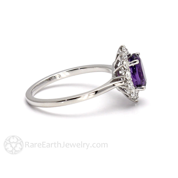 Rare Earth Jewelry Purple Amethyst Oval Halo Ring 14K White Gold