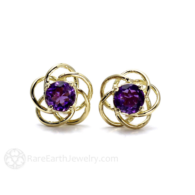 Rare Earth Jewelry Purple Amethyst Earrings 14K Gold Swirl Design February Birthstone