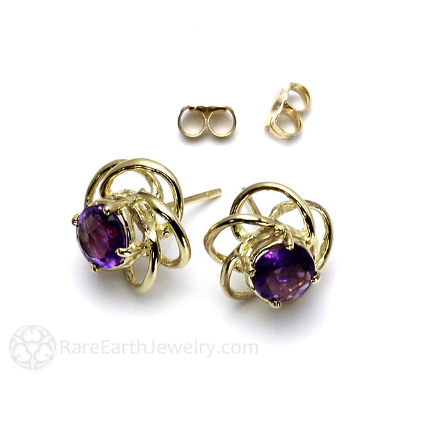Rare Earth Jewelry February Birthstone or Anniversary Earrings 14K Purple Amethyst