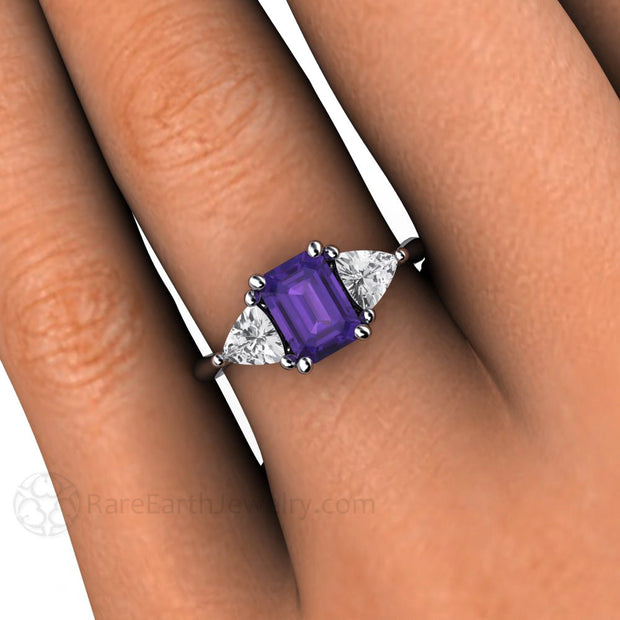 Amethyst and Sapphire Vintage Style Ring Ring on Finger Rare Earth Jewelry