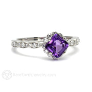 Rare Earth Jewelry 14K Asscher Amethyst Diamond Halo February Birthstone Ring