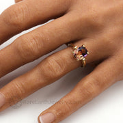Amethyst and Gold Ring Citrine Ring Two Color natural Gemstone