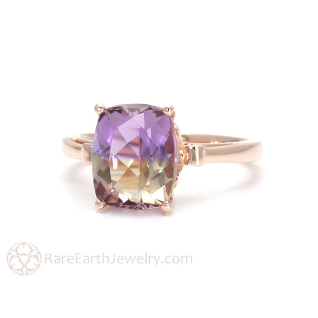 Rare Earth Jewelry Cushion Ametrine Ring 14K Gold Fleur de Lis Setting