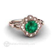 Antique Style 1ct lab created Emerald Engagement Ring in 18K Rose Gold