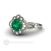 Antique Style Emerald and Diamond Ring with Milgrain Ornate Fancy Halo