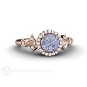 18K Rose Gold Color Change Sapphire Bridal Ring Diamond Accents Art Deco Design Rare Earth Jewelry